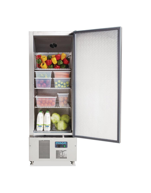slimline-upright-fridge-polar-g590-stainless-steel-single-solid-door