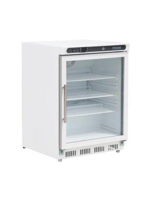 undercounter-fridge-polar-cd086-white-laminated-glass-door-display