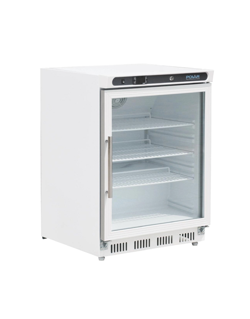 undercounter-fridge-polar-cd086-white-laminated-glass-door-display