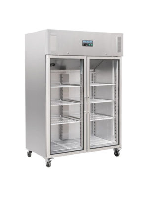 upright-display-fridge-polar-cw198-stainless-steel-double-glass-door